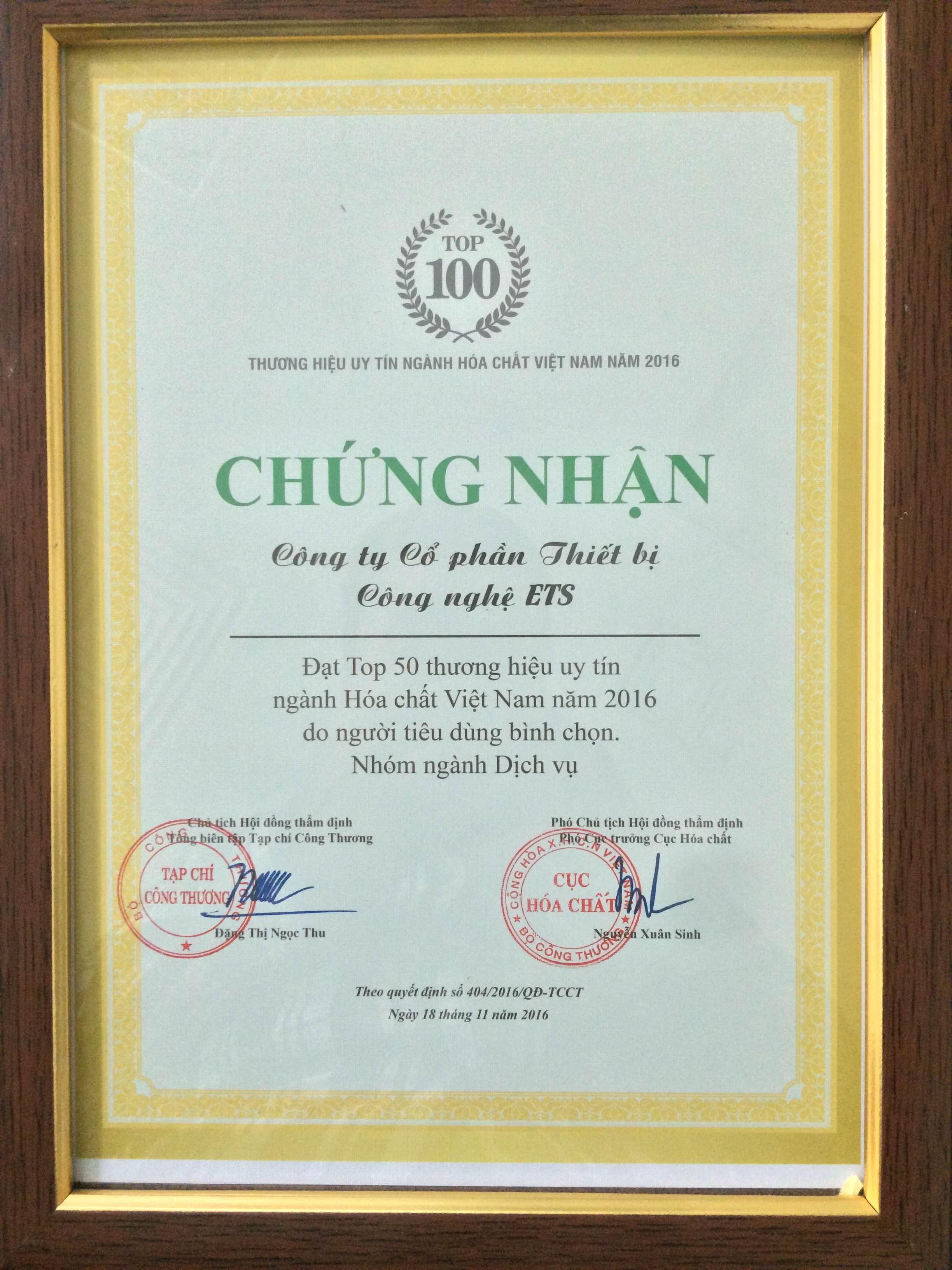 Chứng nhận TOP 50 thương hiệu uy tín ngành hóa chất Việt Nam năm 2016