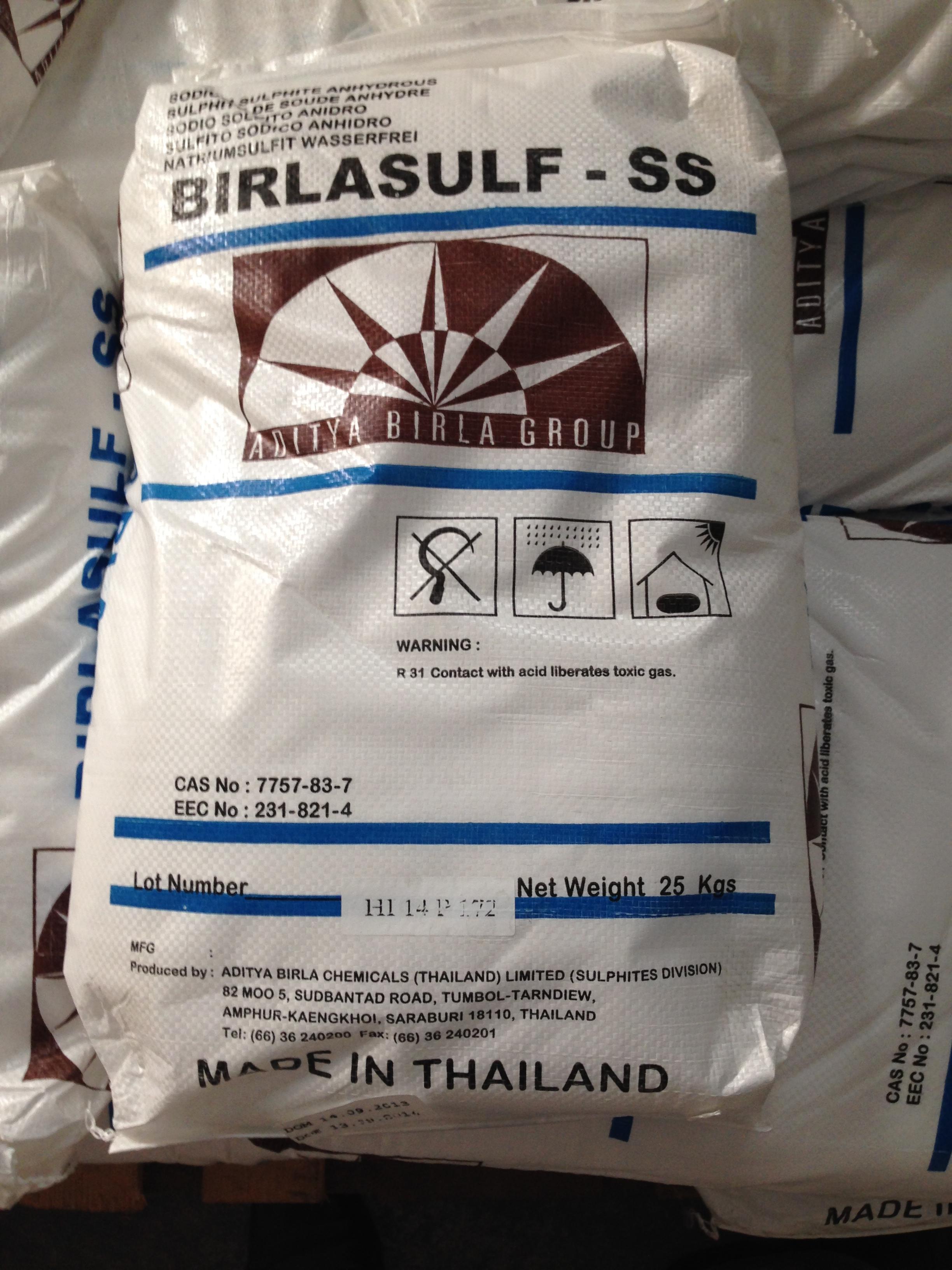 Natri Sunphite được đóng bao 25kg
